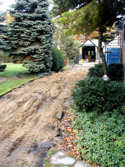 After concrete removal, pathway its ready for drain excavation