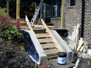 Forms complete for pouring terrace steps.