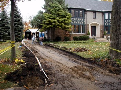 Forming the new driveway