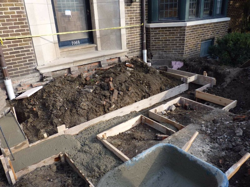 Rebar set in footers for replacement porch