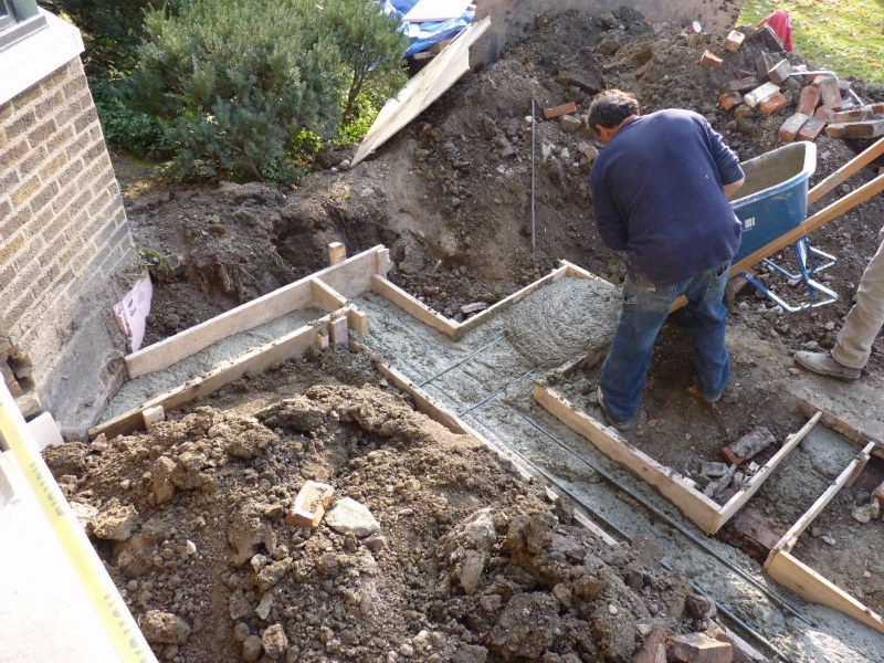 Pouring footers for porch