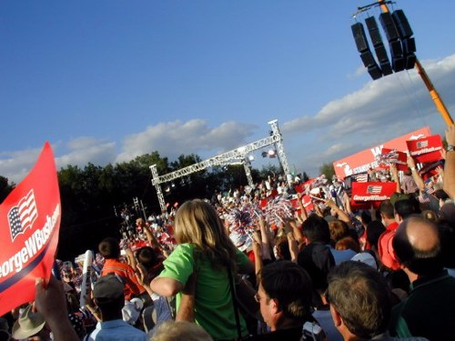 The hot crowd in Taylor, Mich., on August 30 for President Bush
