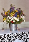 Marie's 'wild flowers in a pail' centerpiece